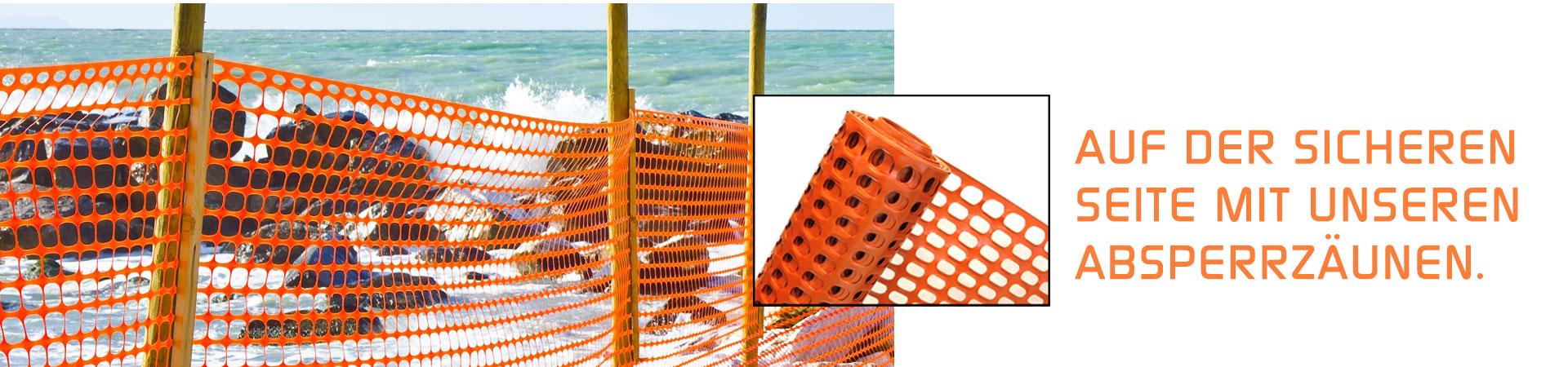 orangener Absperrzaun am Strand