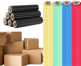 Verpackungsmaterial. Karton und Folie